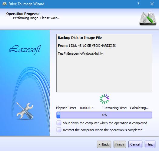 Criar imagem de disco com Lazesoft Disk Image & Clone