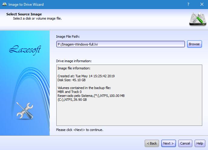 Restaurar imagem de disco com lazesoft