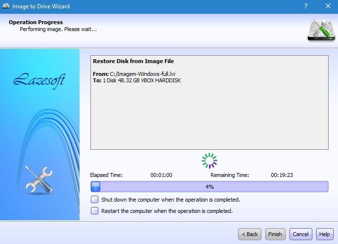 Como restaurar uma imagem de disco com lazesoft image clone