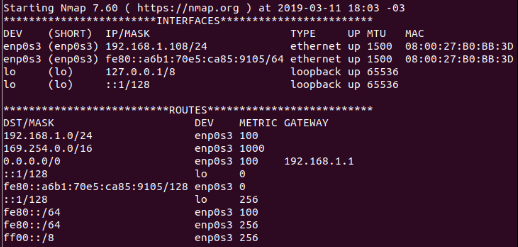 Mostrar rotas e interfaces no host com nmap