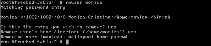 Como remover usuários no FreeBSD com comando rmuser