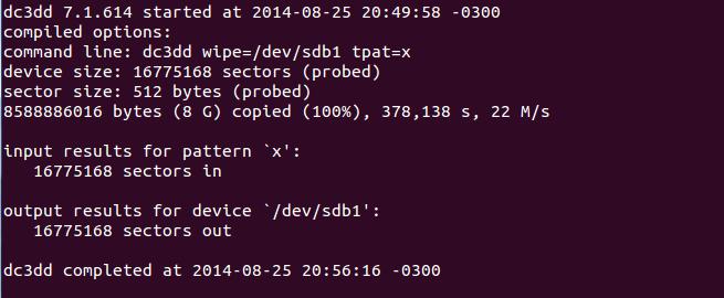 apagar arquivos com segurança no linux com dc3dd