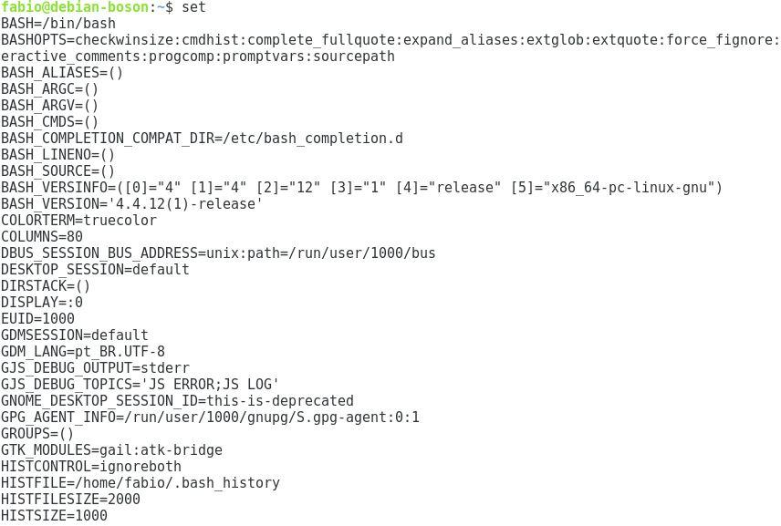Variáveis de ambiente com comando set no Linux