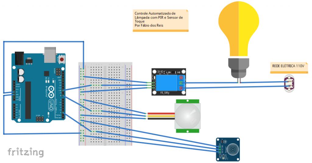 Automação Residencial dom Arduino - Lâmpada com Sensor Infravermelho e Sensor de Toque