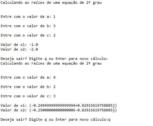 Raízes da equação de segundo grau com python