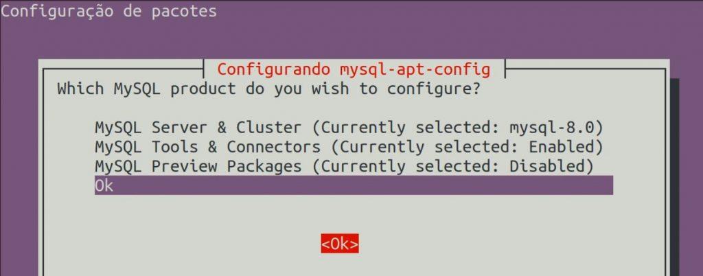 Configuração de pacotes MySQL no ubuntu Linux