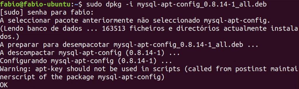 Configuração do mysql-apt-config