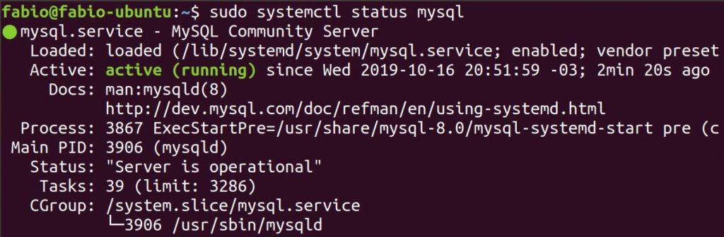 Verificar status do serviço do MySQL Server no Ubuntu Linux