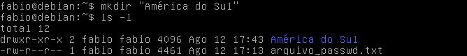 criar diretórios com espaços no nome no Linux
