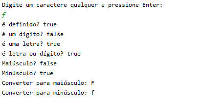 Métodos da classe Character em Java