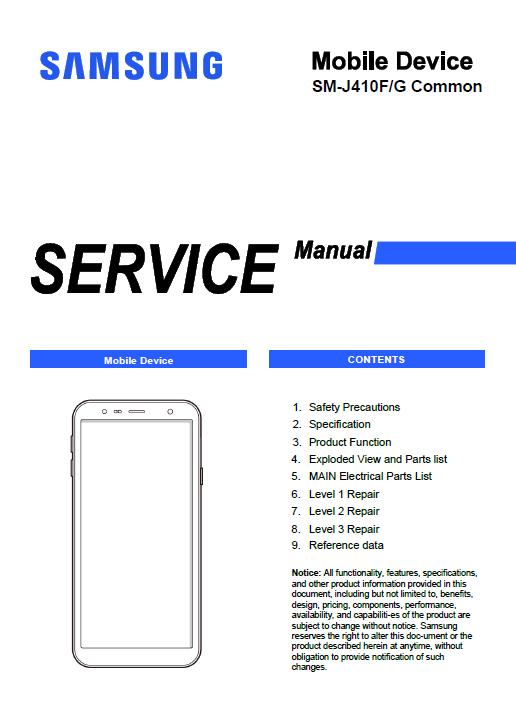Capa de um manual de serviço de Smartphone Samsung J4