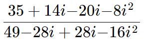dividindo números complexos