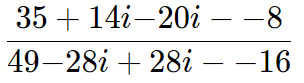 dividir dois números complexos