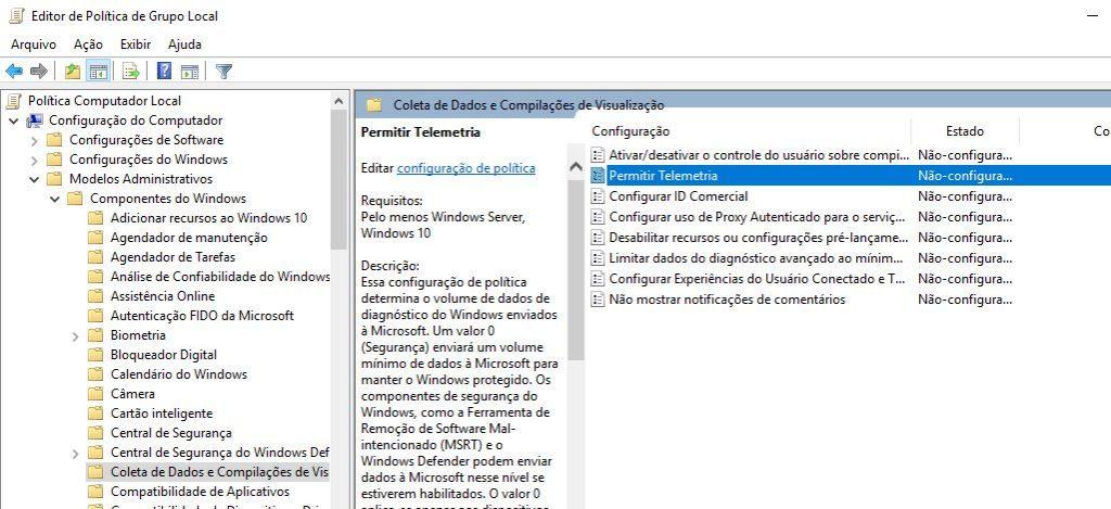 Desabilitar telemetria de dados no windows 10 com política de grupo