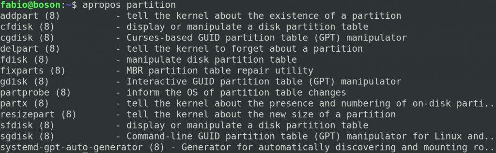 Comando apropos e particionamento de discos no Linux