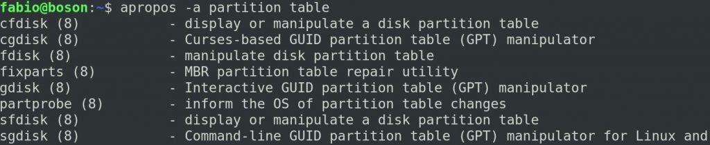 Comando apropos - tabela de partição no Linux