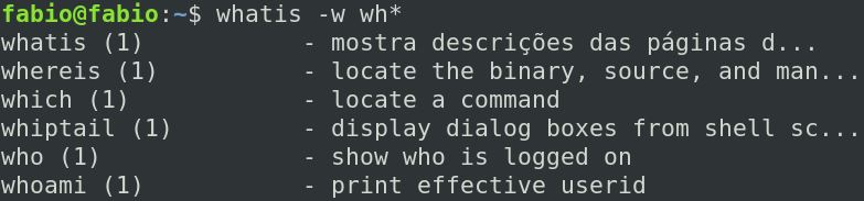 Comando whatis ocm caracteres curinga no Linux