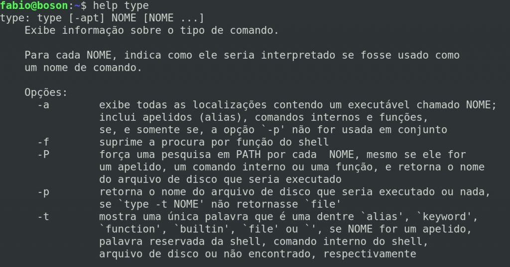 Ajuda do comando type no linux