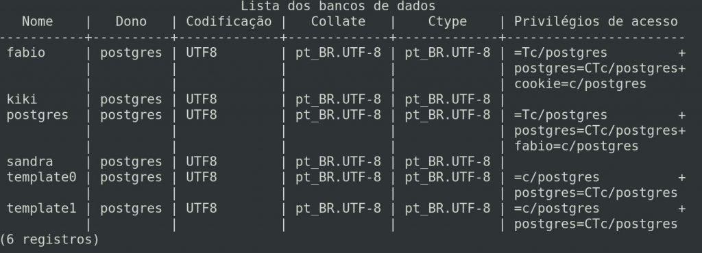 Listar bancos de dados no PostgreSQL