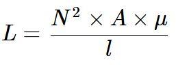 Fórmula para cálculo de indutância de bobonas