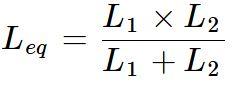 Indutância equivalente de duas bobinas em paralelo - fórmula