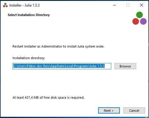 Instalação da linguagem Julia no Windows 10