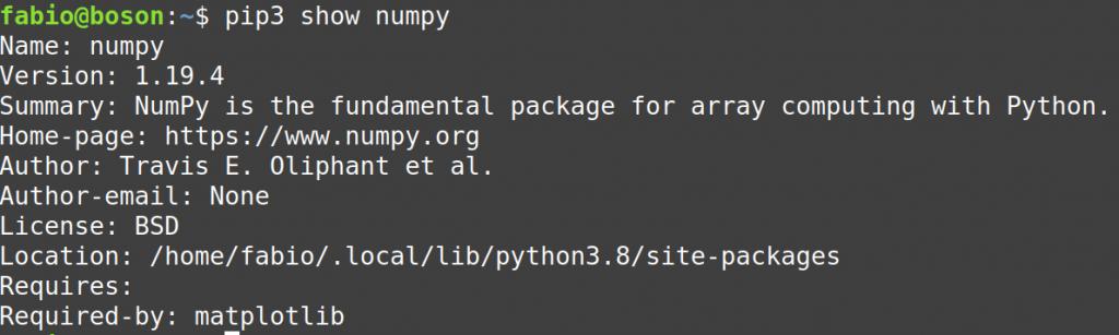 Verificar instalação do numpy usando o pip no linux mint