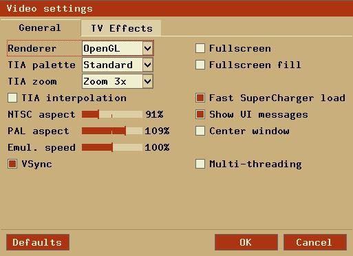 Tela de configurações de vídeo no emulador Stella para Atari