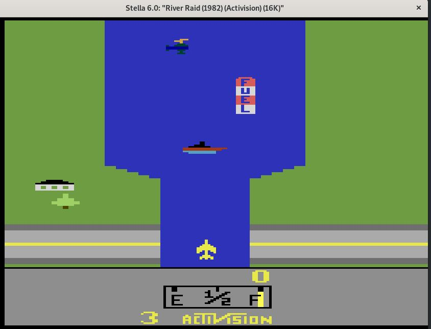 Jogando River raid do Atari com o emulador Stella no Linux