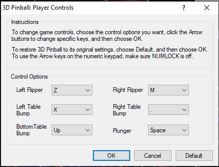 Configurar teclas no Pinball