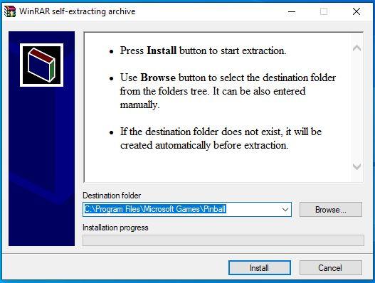 Instalar jogo de fliperama no Windows