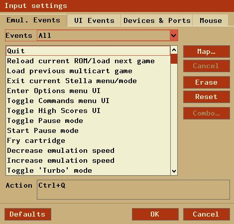 Configuração de controles no Stella (Teclado, Joystick, etc.)