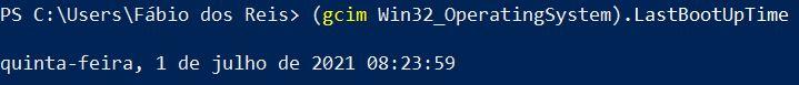 Hora em que o computador foi ligado via Windows PowerShell