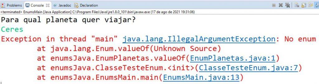 Teste de tipo enum em Java com Planeta-anão Ceres